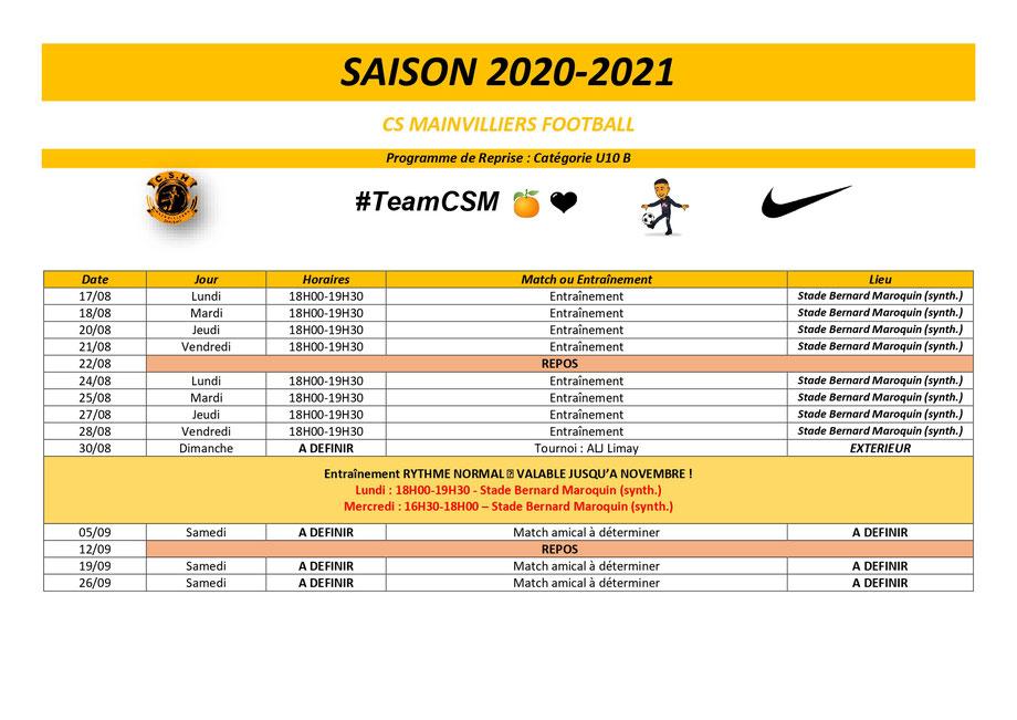 CS Mainvilliers Football Planning de reprise U10 B