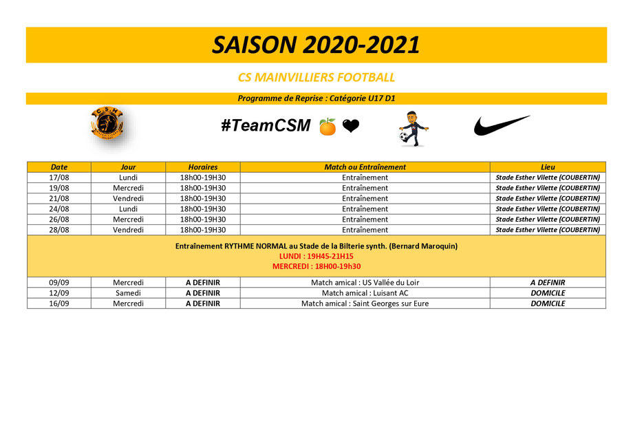CS Mainvilliers Football Planning de reprise U17 D1