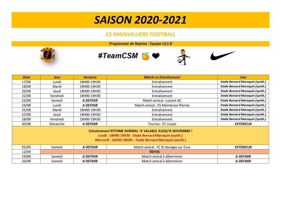 CS Mainvilliers Football Planning de reprise U11 B