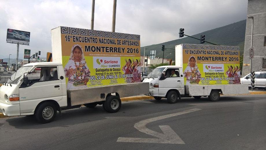 Vallas moviles en Monterrey, Nuevo Leon, Mexico. Renta, los 365 días del año.