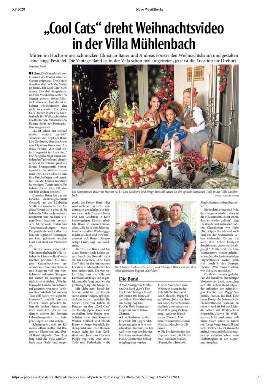 """Die Kölner Vintage Band Lou's THE COOL CATS drehen ihr neues Weihnachtsvideo """"At Christmas"""" in der """"Villa Mühlenbach"""" in Löhne."""