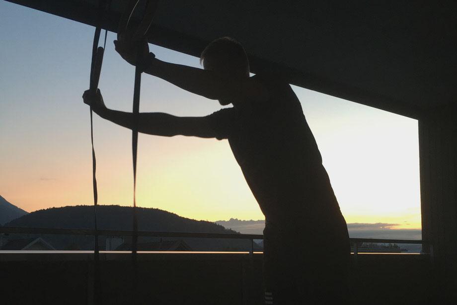 Minimalist Biohacker Bodyweight Workouts Rings Sunset