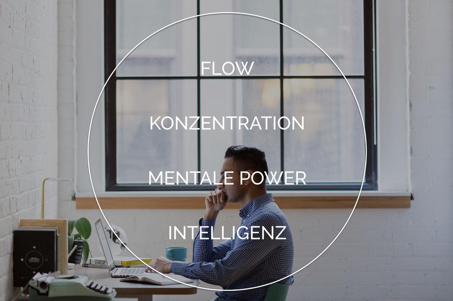 Flow Konzentration Mentale Power Intelligenz Mann arbeitet an Laptop