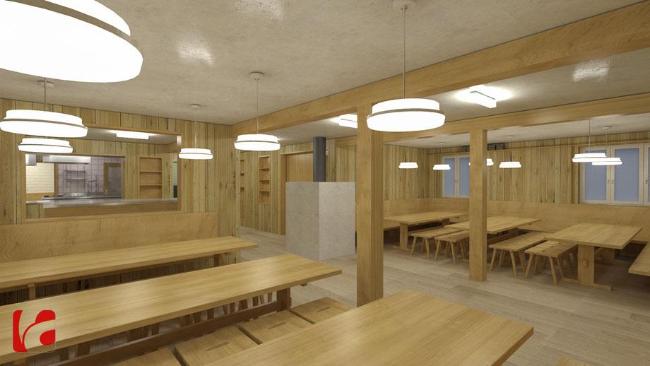 Gastraum der Lämmerenhütte SAC in 3D modelliert und quick gerendert