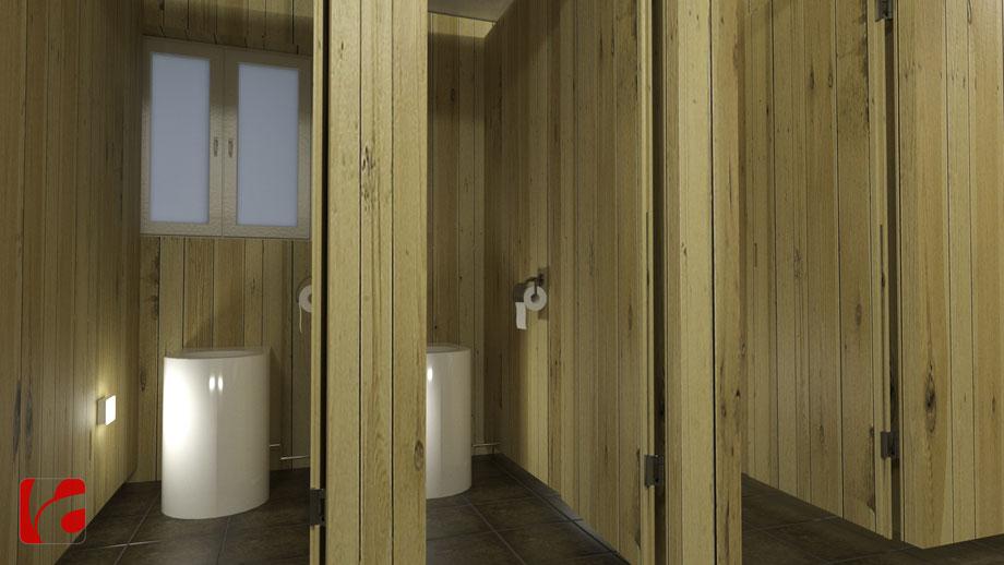 Beleuchtete Toilettenkabinen der Lämmerenhütte SAC in 3D modelliert und quick gerendert