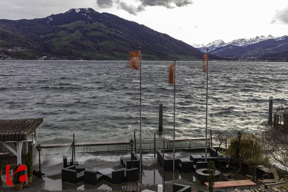 Seerestaurant «Zum Schlüssel» — zerstörerische Kraft des Wassers im November-Föhnsturm 2019