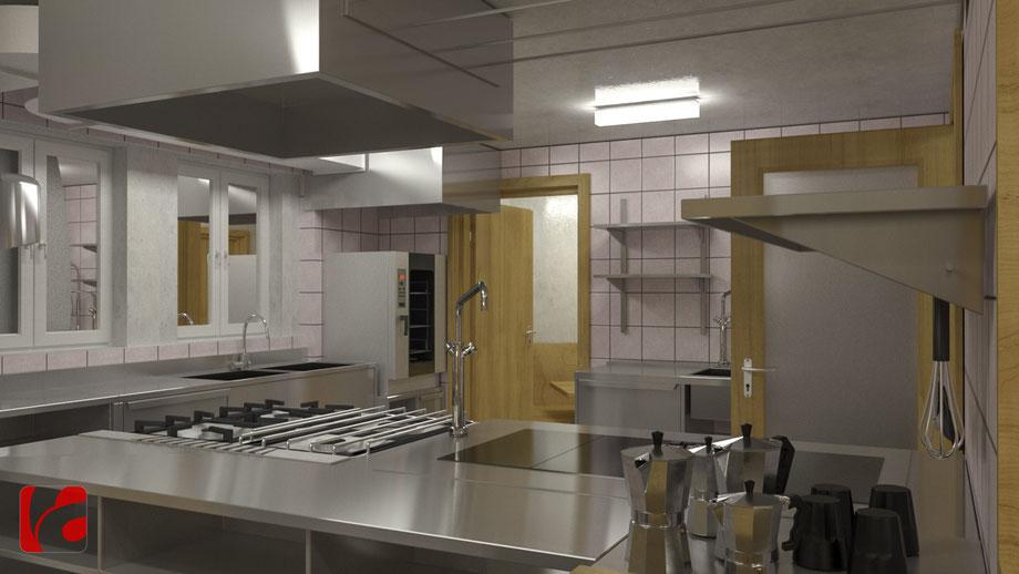 Küche der Lämmerenhütte SAC in 3D modelliert und quick gerendert, Ansicht 3