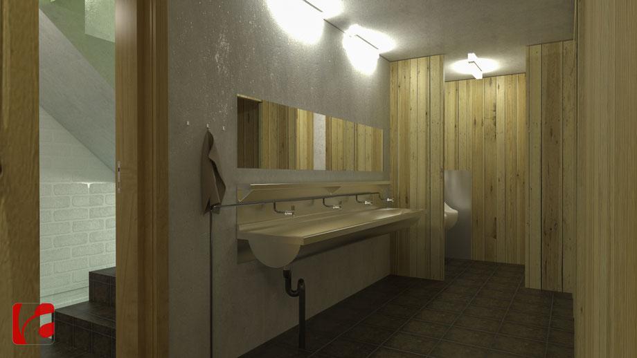Toiletten der Lämmerenhütte SAC in 3D modelliert und quick gerendert