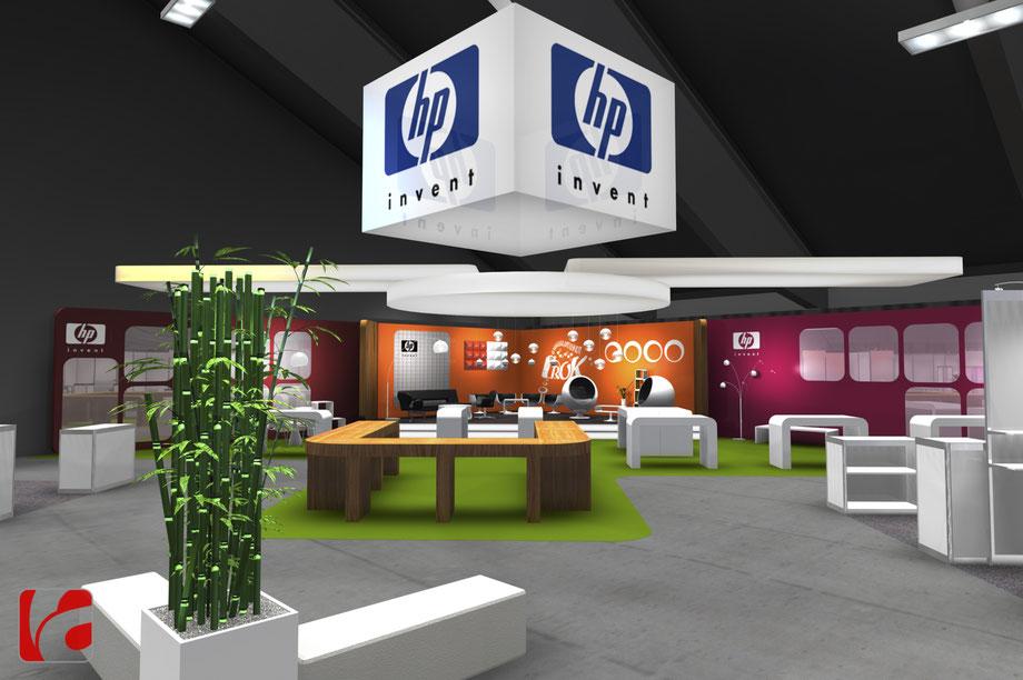 Eventdesign, Design Aegeri, Messedesign, Produktdesign, Industriedesign, Industrial Design, Hewlett Packard Messestand, IM.TOP