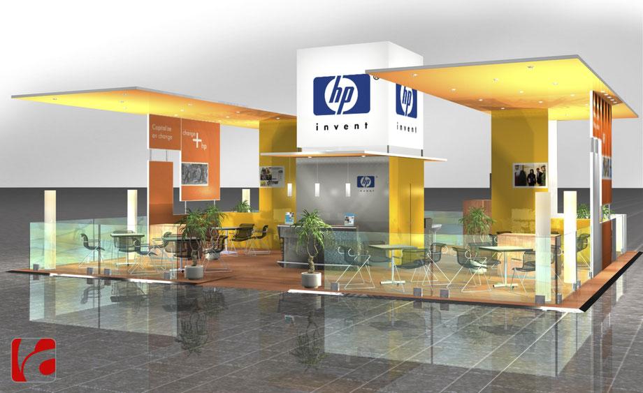Hewlett Packard Messestand IBC Amsterdam, Aegeridesign, Messedesign, Messebau, Messe Gestaltung, Standbau, HP