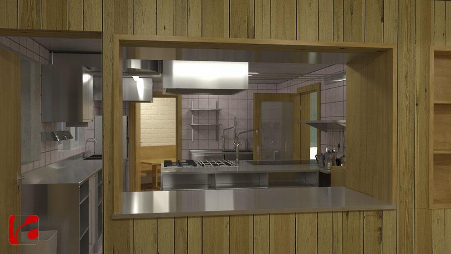 Küche der Lämmerenhütte SAC in 3D modelliert und quick gerendert, Ansicht 5