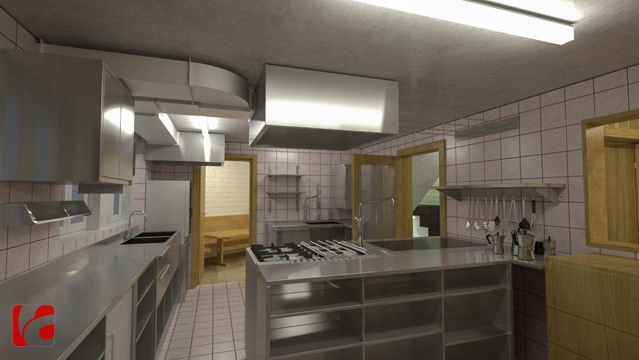 Küche der Lämmerenhütte SAC in 3D modelliert und quick gerendert, Ansicht 2