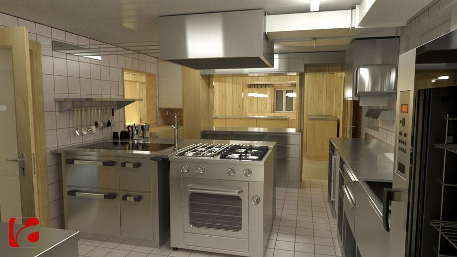 Küche der Lämmerenhütte SAC in 3D modelliert und quick gerendert, Ansicht 1