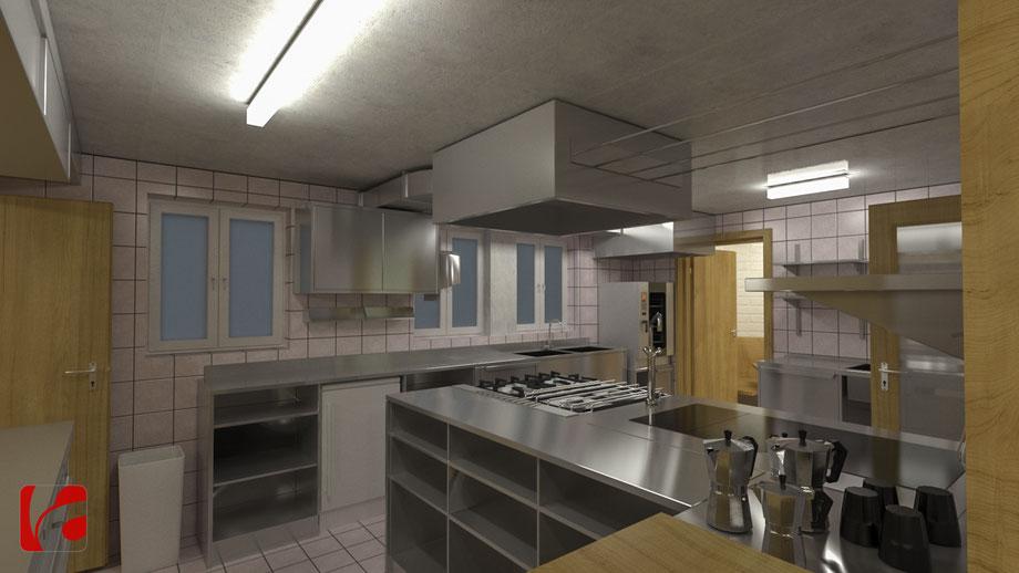 Küche der Lämmerenhütte SAC in 3D modelliert und quick gerendert, Ansicht 4