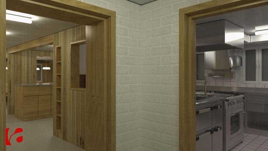 Empfangsbereich und Küche der Lämmerenhütte SAC in 3D modelliert und quick gerendert, Ansicht 1
