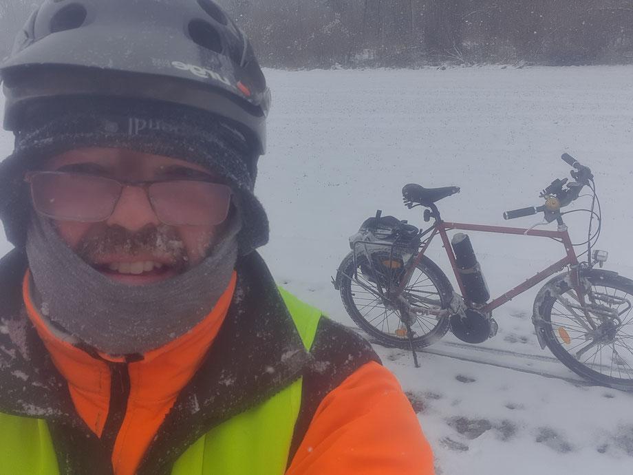 Bei Minus 10°C mit dem Pendix-Bike unterwegs!