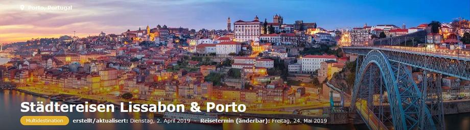 Alle Unterkünfte in Porto und Lissabon, inkl. Ausflüge und Sehenswürdigkeiten jetzt bei Singer Reisen & versicherungen buchen...