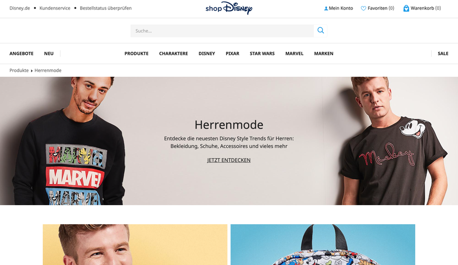 Onlineshop Disneyland Paris bzw. shop Disney