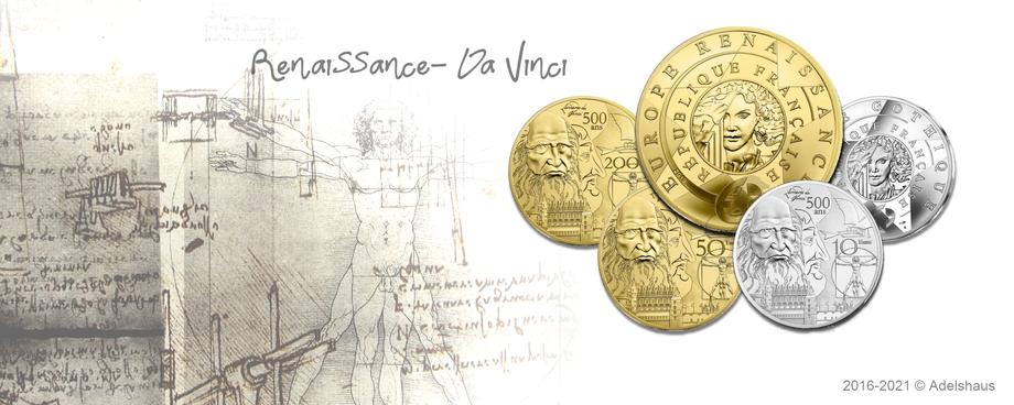 da vinci leonardo renaissance 50 euro 200 euro 10 euro silber gold silver goldcoin europastern europastar