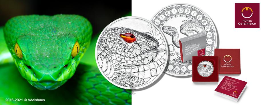 die augen der kontinente 2021 schlange swarovski silber silver coin münze euro österreich 2021
