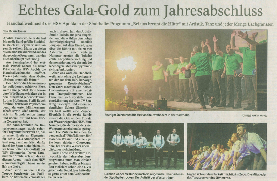 Bericht aus der Thüringer Allgemeinen vom 17.12.2018 zur Jahresabschlussfeier unseres HSV