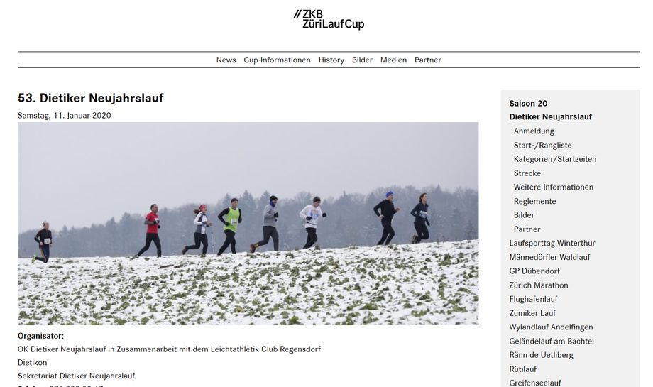 Screenshot Homepage Neujahrslauf Dietikon