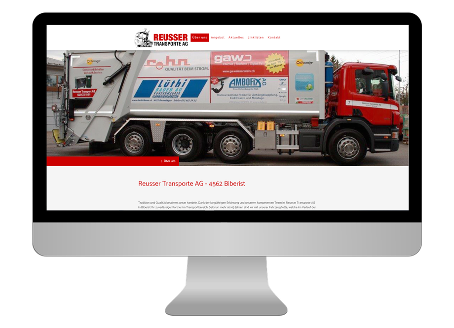 Neue responsive Webseite für Reusser Transporte AG in Biberist - CS Marketing responsive Webdesign