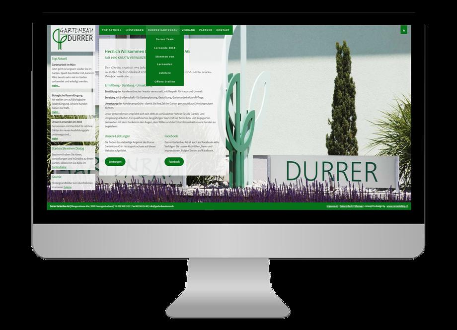 Neue responsive Webseite für Durrer Gartenbau AG in Herzogenbuchsee - CS Marketing responsive Webdesign
