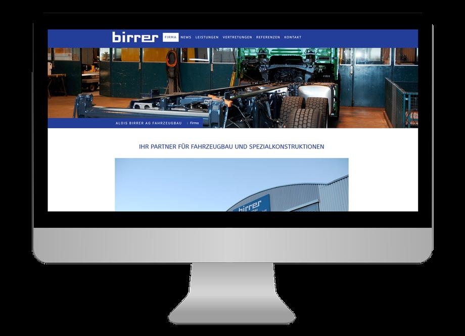 Neue responsive Webseite für Alois Birrer AG Fahrzeugbau in Hofstatt - CS Marketing responsive Webdesign