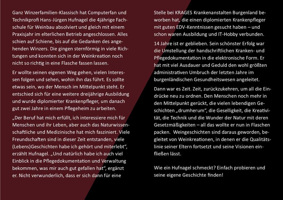 Hans-Jürgen Hufnagel, Technikprofi, diplomierter Krankenpfleger und leidenschaftlicher Winzer