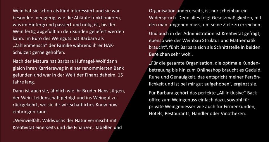 Barbara Hufnagel-Wolf - von der Bankmanagerin zurück zum Weingut Hufnagel nach Neckenmarkt