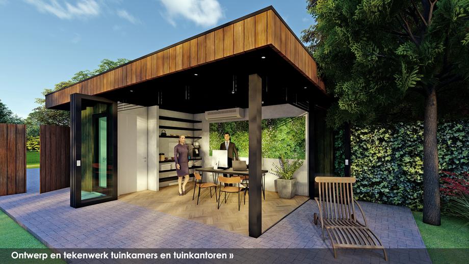 Ontwerp en tekenwerk tuinkantoren en tuinkamers