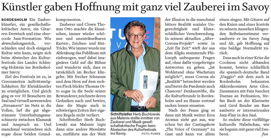Oliver Funke berichtet im Holsteinischer Courier Neumünster über Herb Buchlowski.
