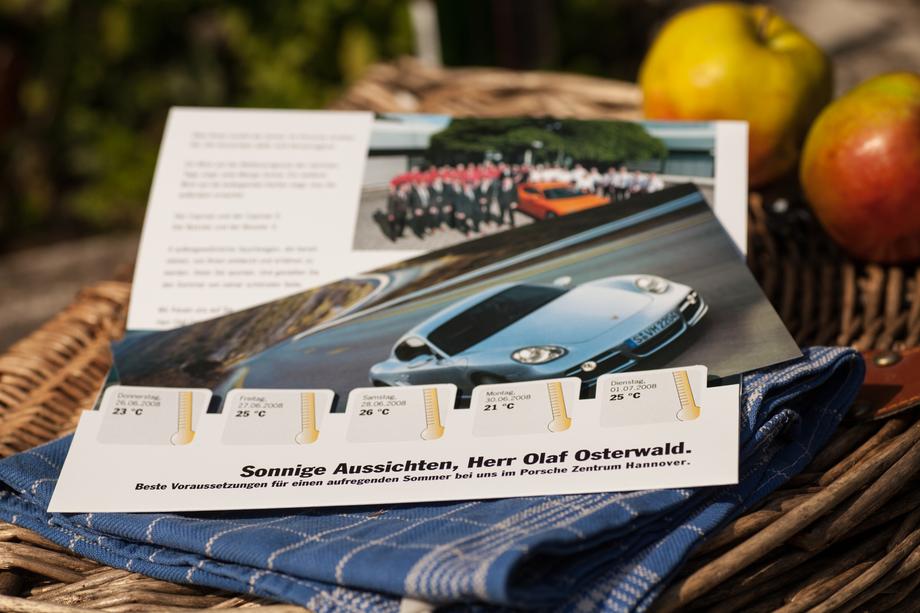 Mailing mit Einladung zur Probefahrt inkl. personalisierter Wettervorhersage | Porsche Deutschland GmbH | Auftraggeber: Chromedia Dialogmarketing GmbH