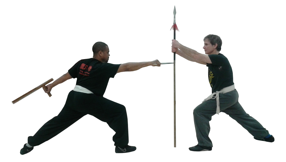 Sifu Julio Perez and Senior Instructor Bruce Paly - Don Do Kwai doi Cheung - Single Saber & Crutch Fights Spear