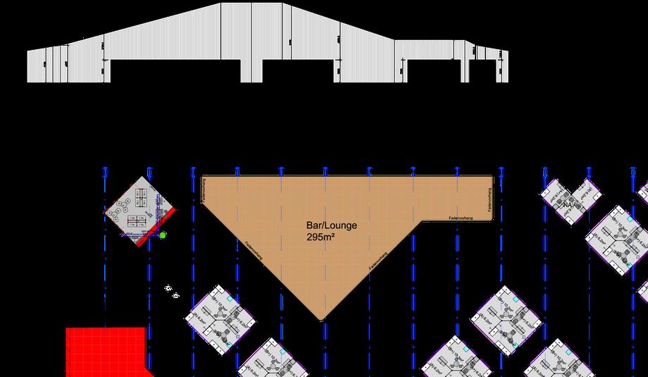 IM-TOP 08 Lounge – Detail Fadenvorhang Abwicklung zum Schneiden vor Ort