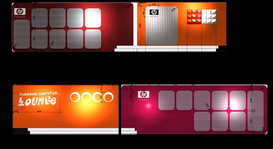 Grafik- und Acrylglas-Wandabwicklung des HP-Standes