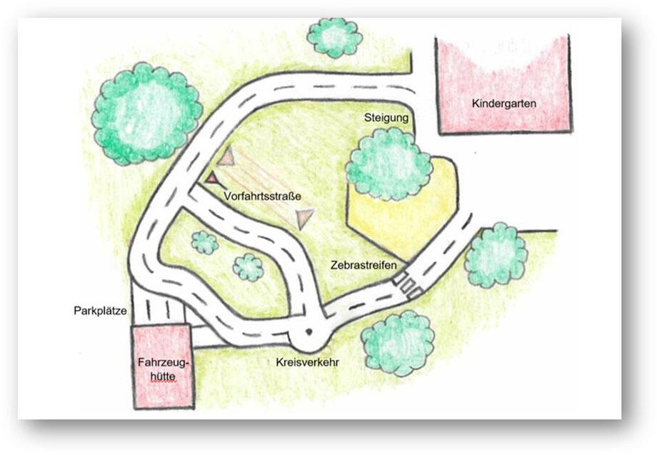 Darstellung der Planung des Fahrzeugparcours (Grafik: Kath. Kindergarten St. Marien, Anröchte)
