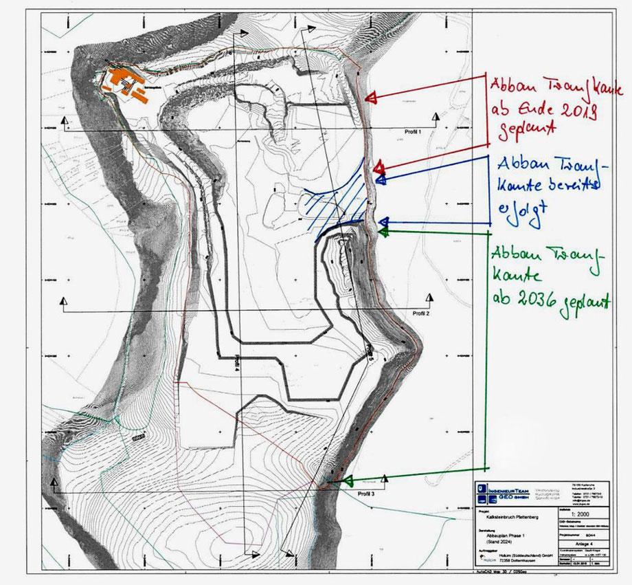 Mit dem aktualisierten Abbauplan auf dem Plettenberg hat sich der Ortschaftsrat Weilstetten befasst. Skizze: Stadt Foto: Schwarzwälder Bote