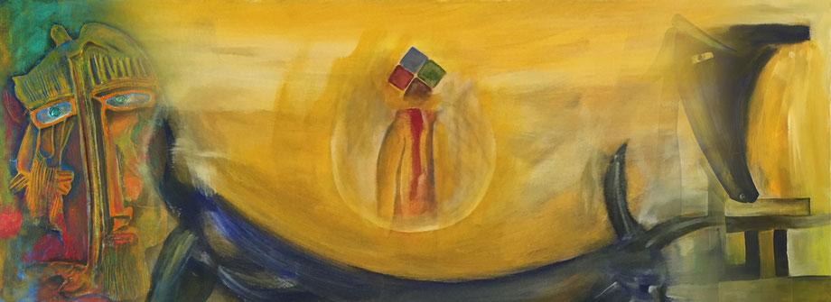 Bilder Acryl auf Leinwand des Künstlers Ibrahim Alawad, zu sehen auf der Aachener Kunstroute 2017.