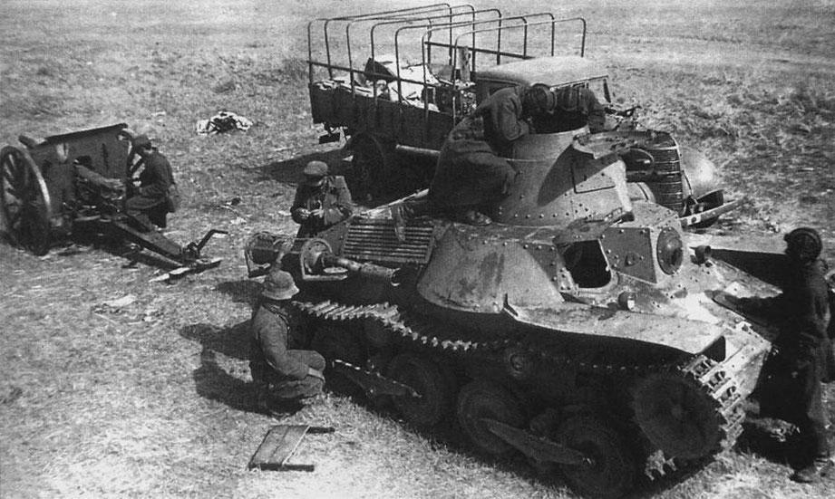"""Version """"Spécial"""" capturé par les troupes soviétiques. Les galets supplémentaires entre les bogies, caractéristiques de cette version, sont visibles"""