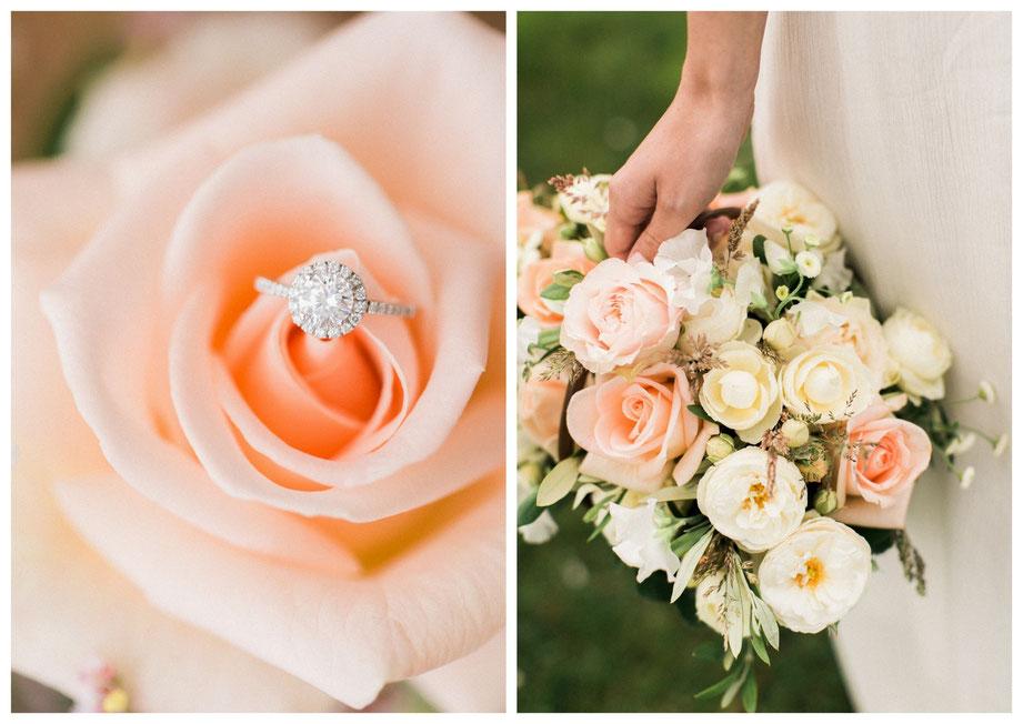 Brautstraussinspiration Brautstrauß Pastell rosa apricot Blumenstrauß Blumen pastellfarben Brautaccessoires