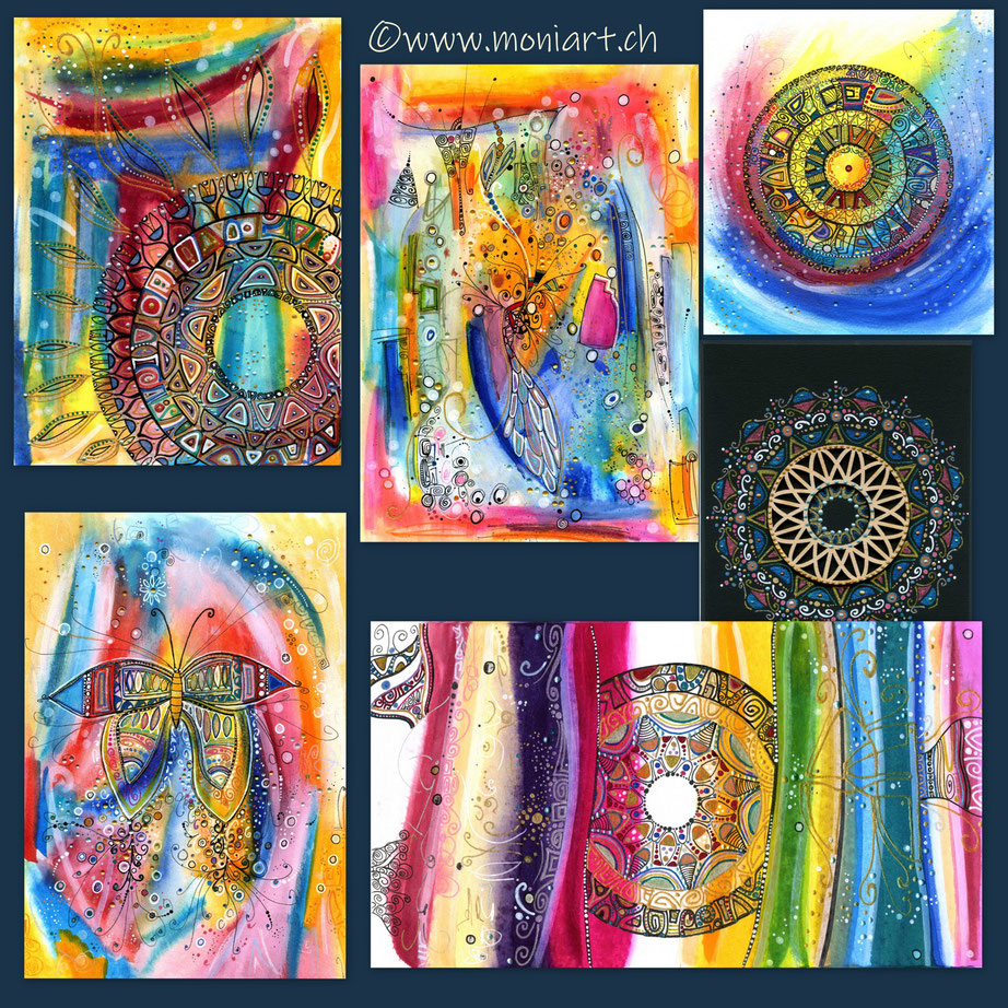 Design  mandalastyle Mandala Muster Feder Lotus Kreis bunt