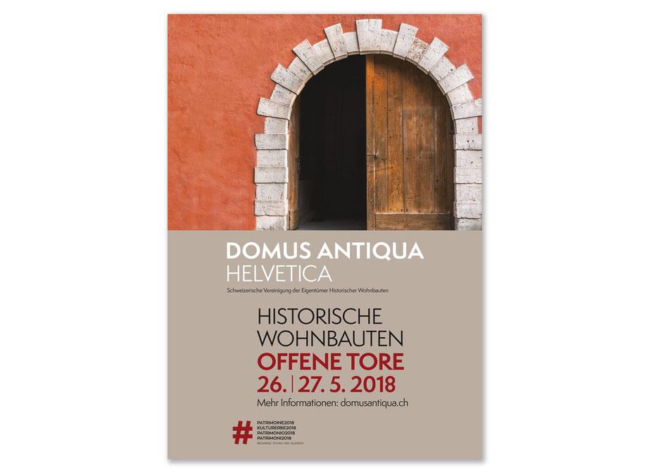 Plakat und Flyer für «Offene Tore» von Domus Antiqua Helvetica am 26. und 27. Mai 2018
