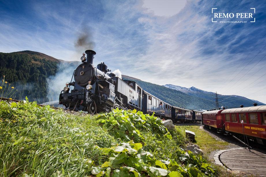 Dampfbahn Furka Bergstrecke - Dampflok HG 3/4 (Fotograf: Remo Peer)