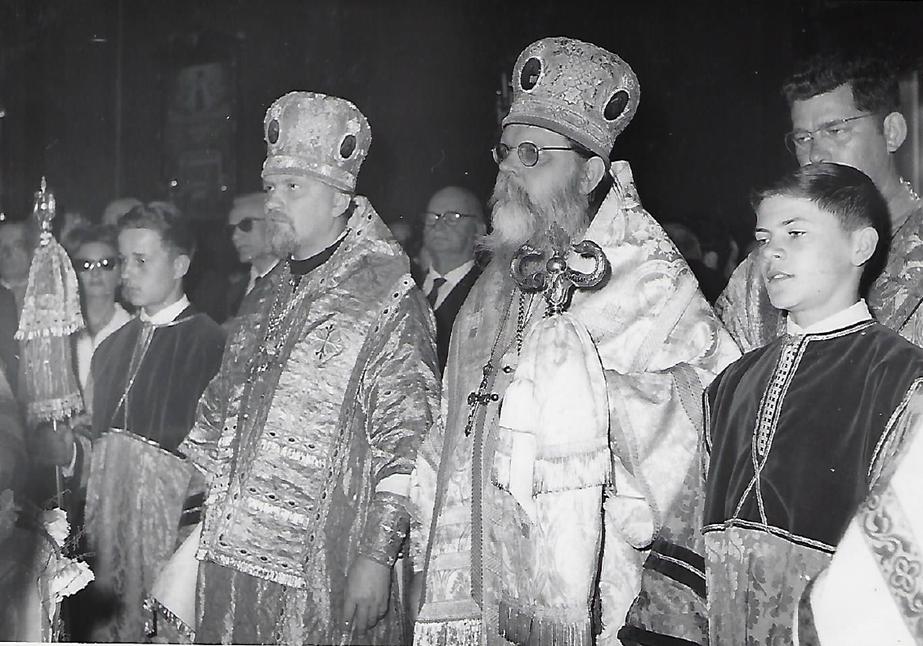 Centenaire de l'église orthodoxe russe de la rue Longchamp, Nice (1960) - Evêque Sylvestre, Evêque Méthode, p. Jean Gueit
