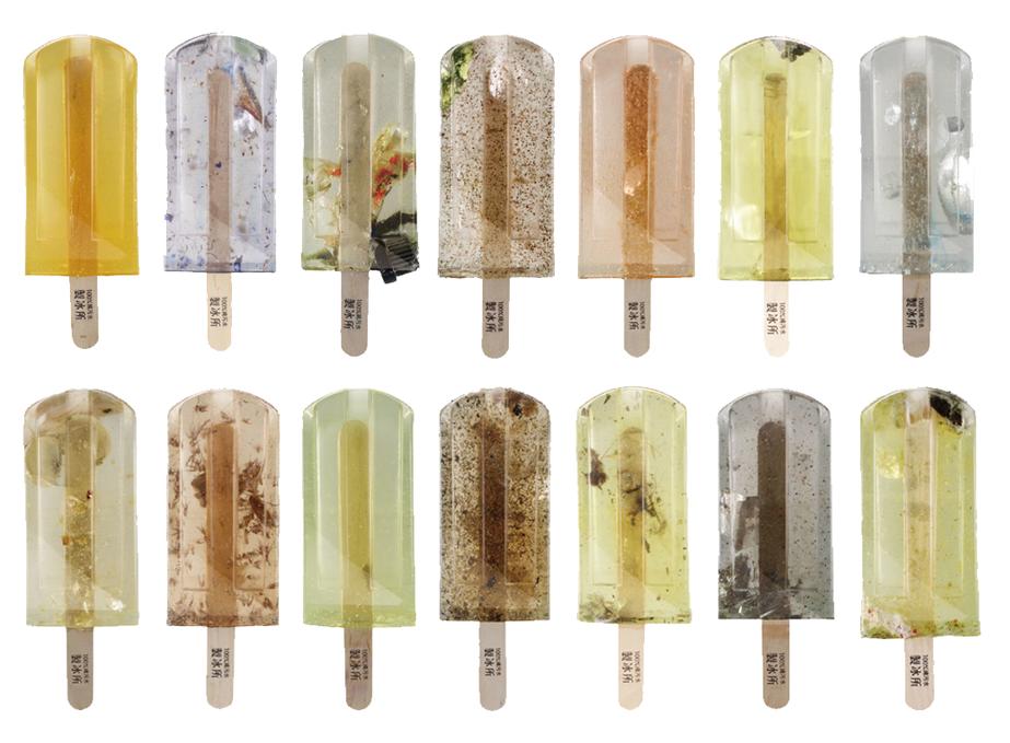 verschiedene Sorten der Abwasser-Popsicles aus Taiwan