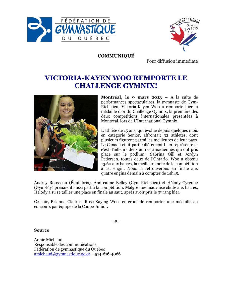 Victoria-Kayen Woo Reporte le Challenge Gymnix!
