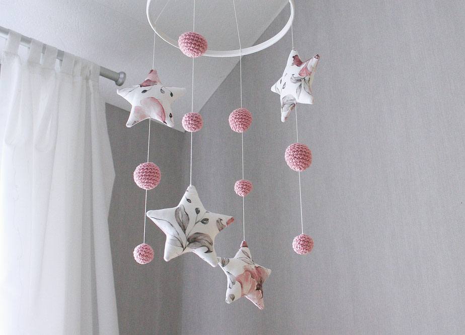 baby mobile fabric stars with crochet balls dusty rose