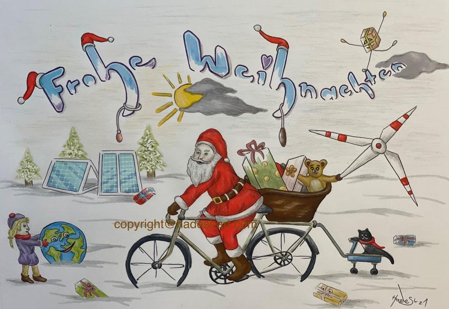 """""""Weihnachtskarte""""...Copic, Buntstifte 2020  (21 cm x 29,7 cm)"""